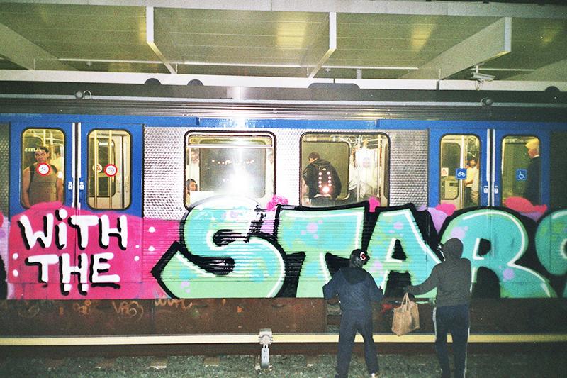 backjump brake amsterdam subway graffiti planking with the stars