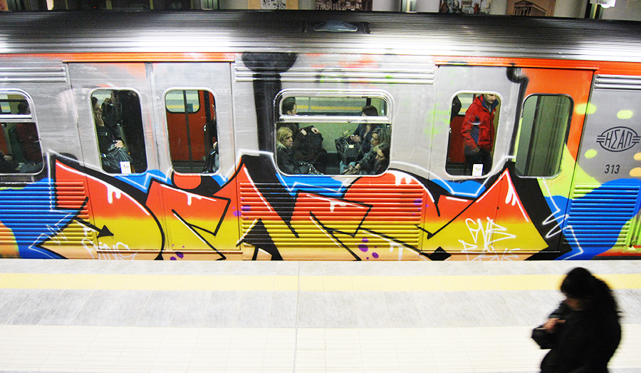 graffiti subway athens running dins gvb