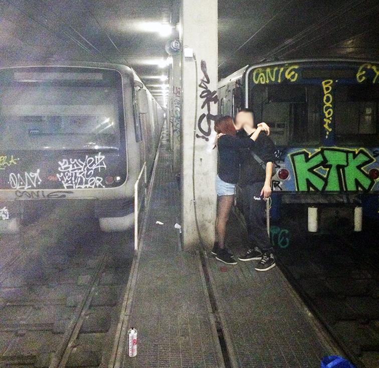 graffiti subway tunnel rome bosi