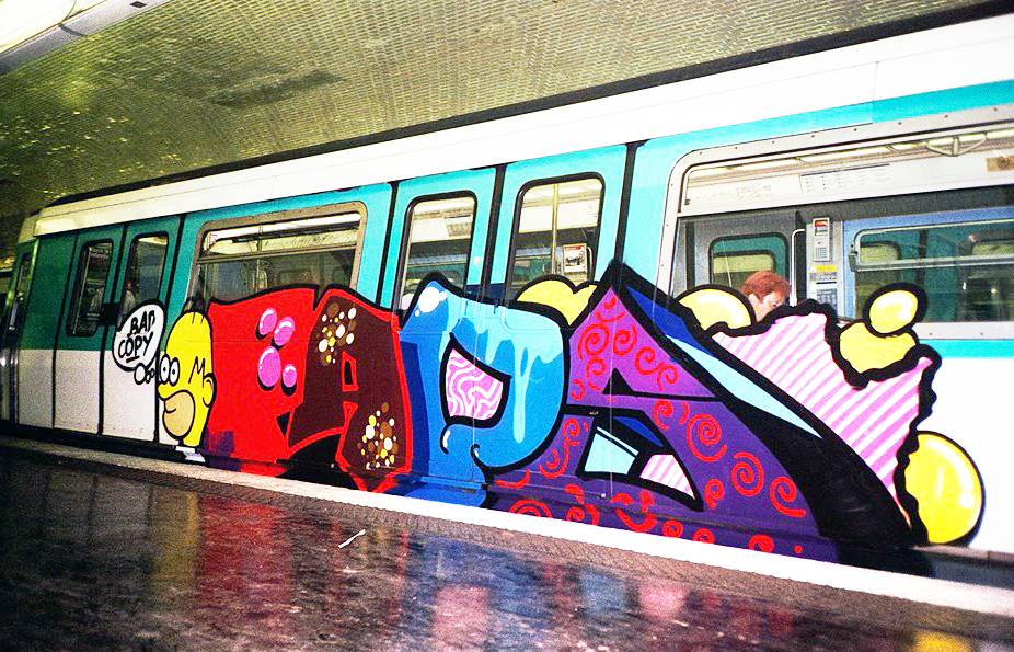 graffiti subway intraffic running paris taps moses topsprayer