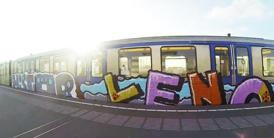 graffiti subway amsterdam holland running sunlight histor leno