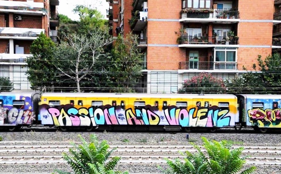 graffiti subway rome running italy passion and violence