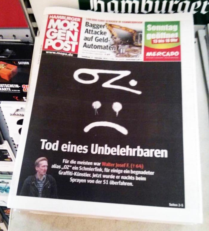 graffiti subway hamburg rip oz germany rest in peace newspaper