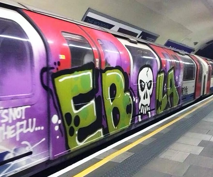 graffiti subway train london UK ebola running tube