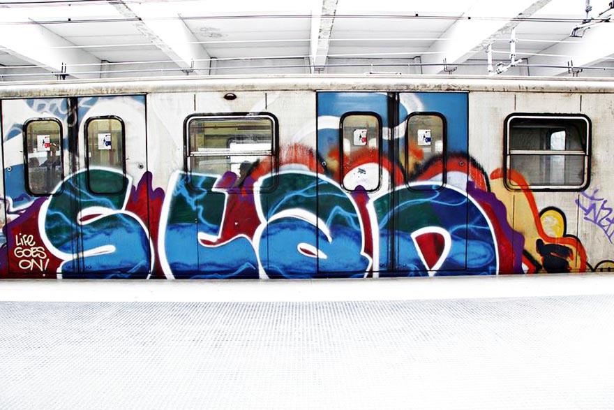 graffiti subway train rome italy bline stan