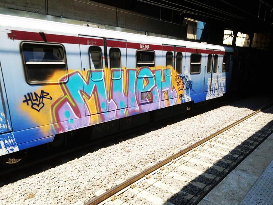 graffiti subway train rome italy bline mueh