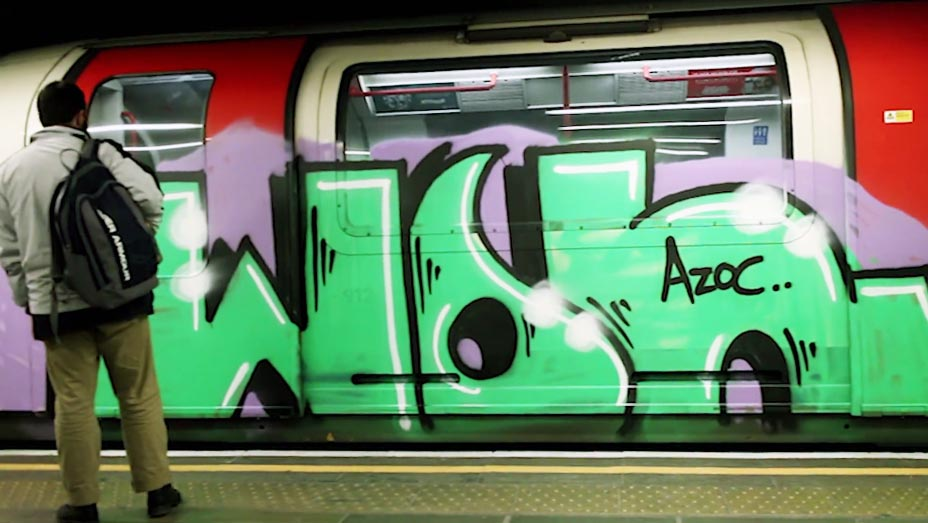 graffiti subway train london UK tube running wol azoc Wolume2