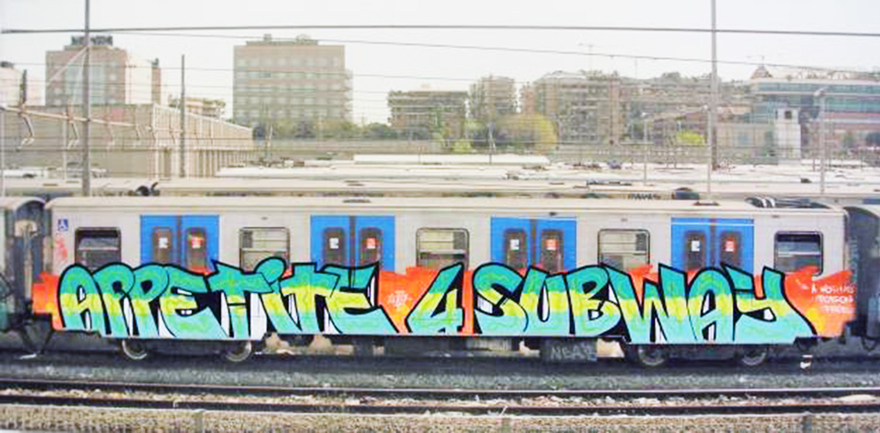 graffiti subway train rome italy bline poison howen end2end