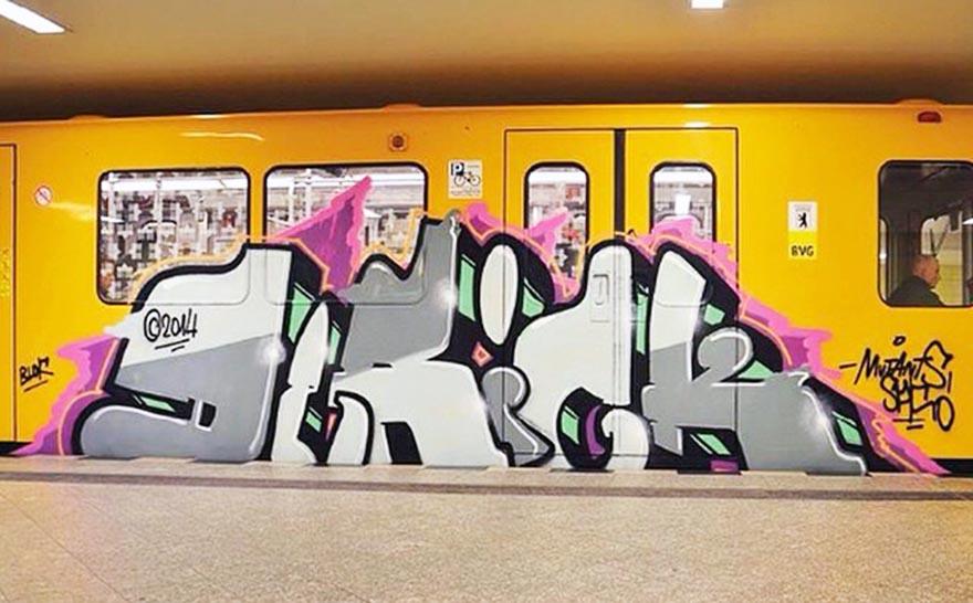 graffiti subway train berlin germany derick running mutants spk