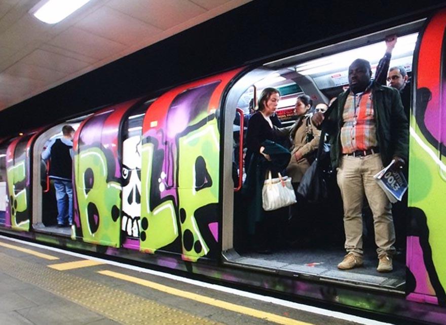 graffiti subway train london tube running ebola