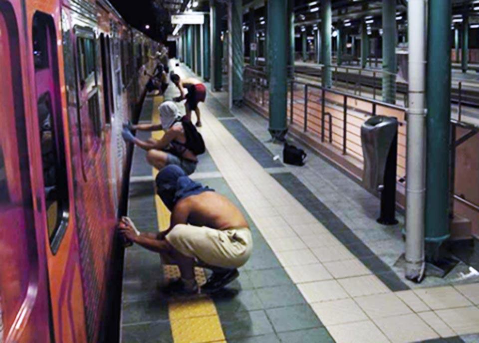 graffiti subway train athens greece platform wholecar