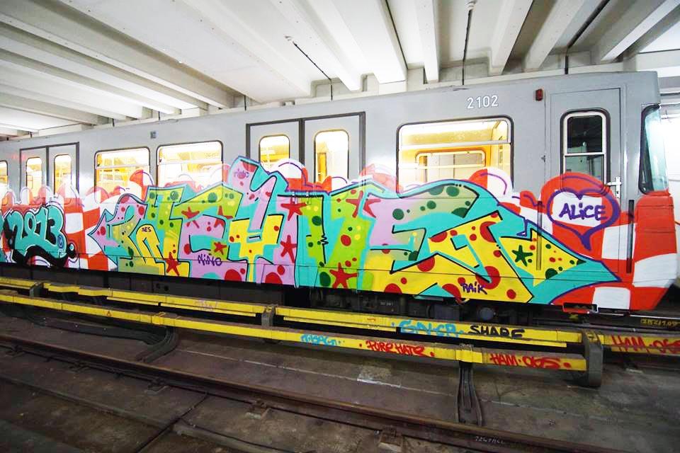 graffiti subway train vienna austria waine tve burner 2013