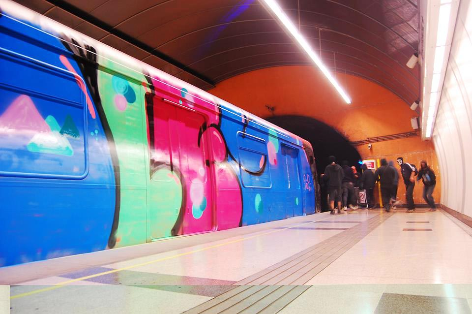 graffiti subway train chile afules wholecar action santiago de chile