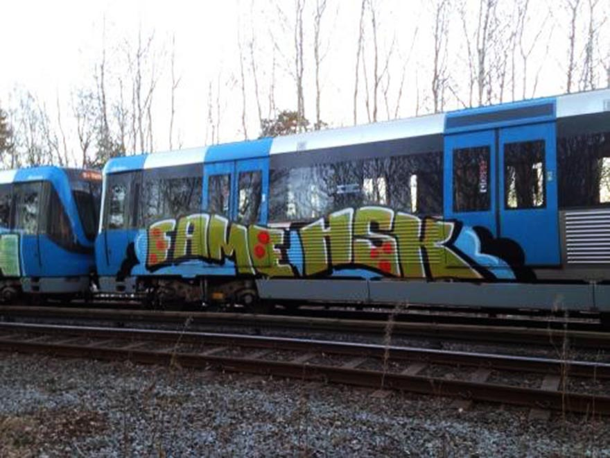 graffiti train subway stockholm sweden fame hsk