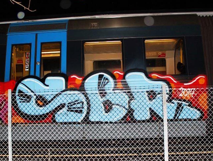 graffiti train subway stockholm sweden sbr 2014