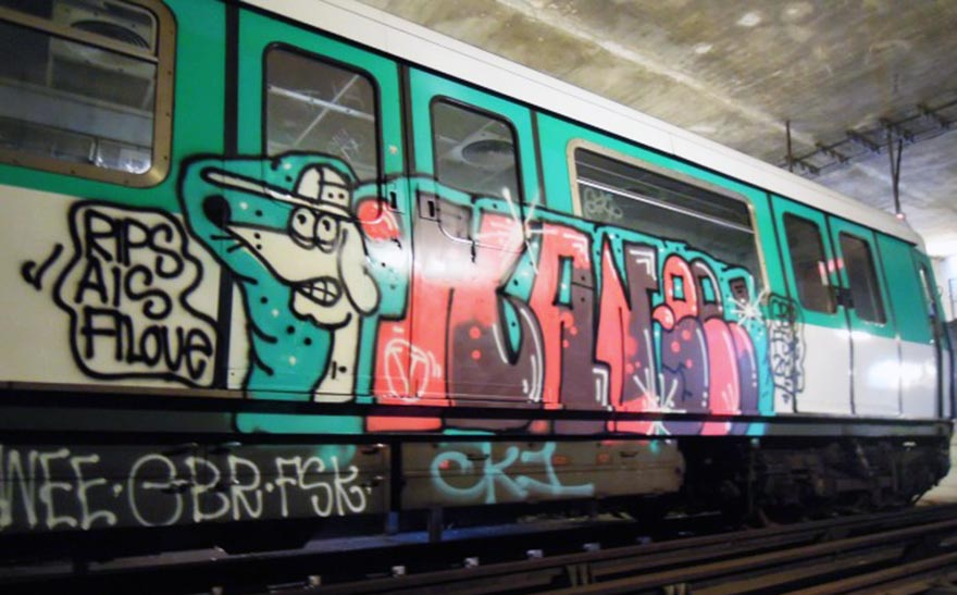 graffiti train subway paris france kanee gbr