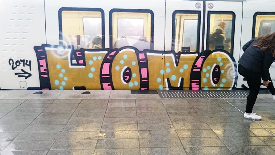 subway graffiti train copenaghen denmark homo