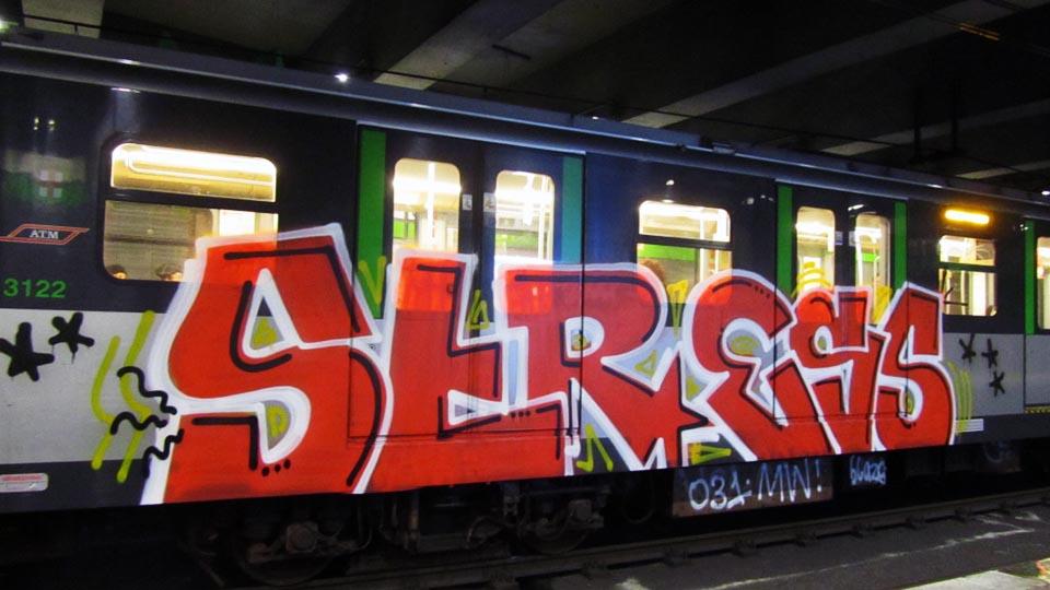 graffiti train subway milan italy stress