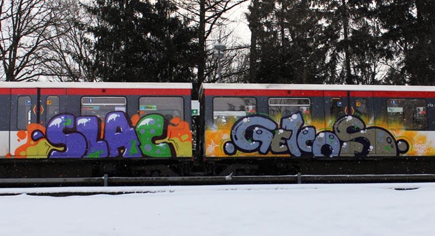 graffiti train subway hamburg germany slac gekos