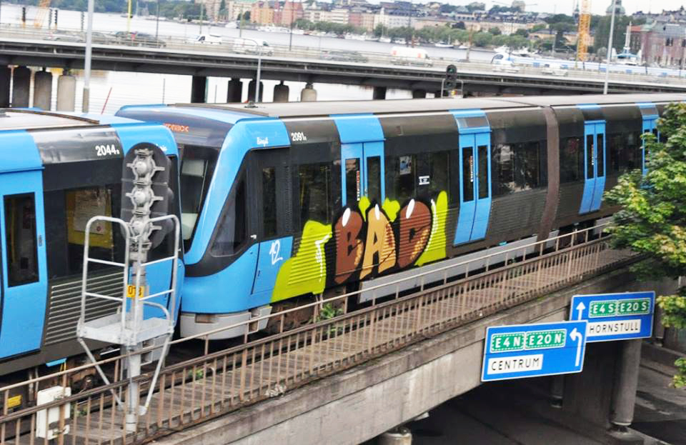 graffiti subway train stockholm sweden bad crew 2012