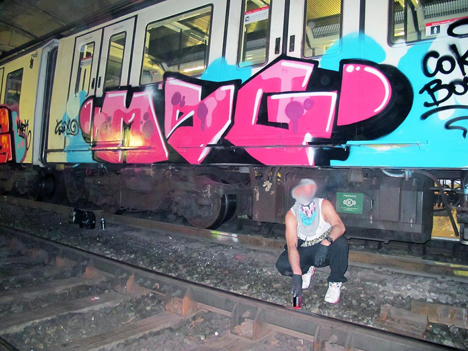 graffiti subway train barcelona spain europe