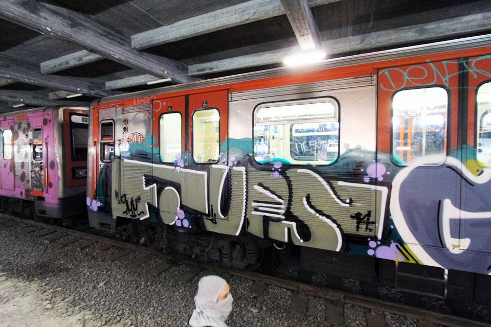 graffiti subway train athens greece europe