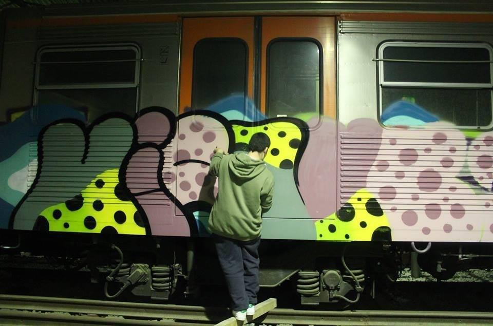 graffiti subway train athens greece subway