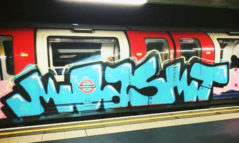 graffiti train subway london uk moasmt running 2015 tube