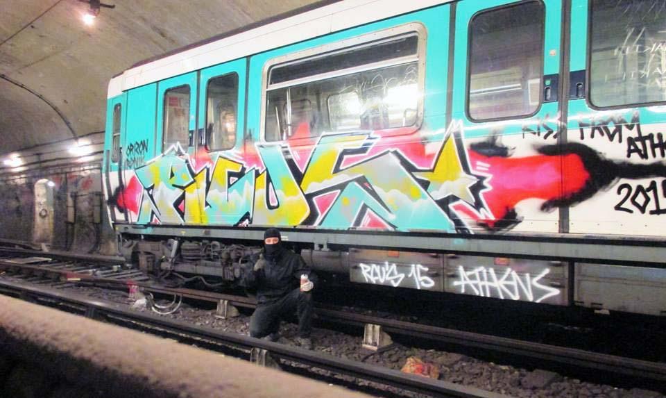 graffiti subway train paris france subway