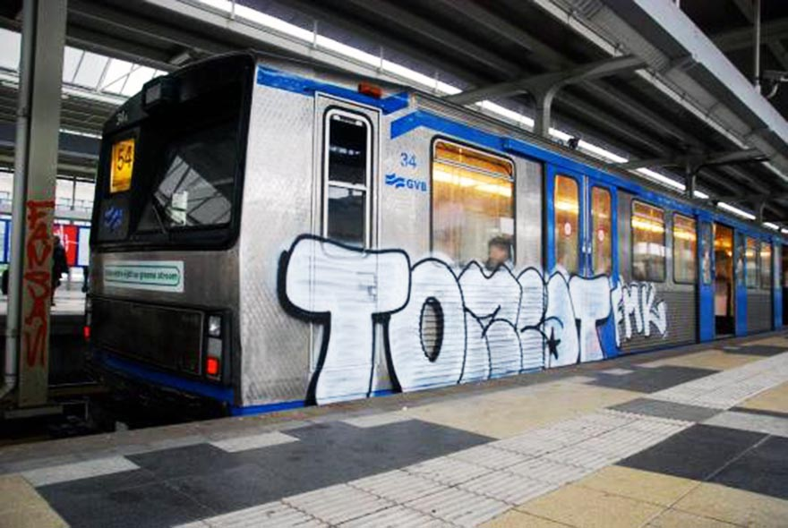 graffiti train subway amsterdam holland tomcat fmk running 2015