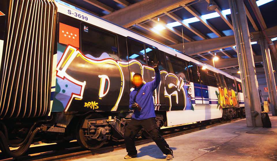 graffiti subway train madrid spain subway