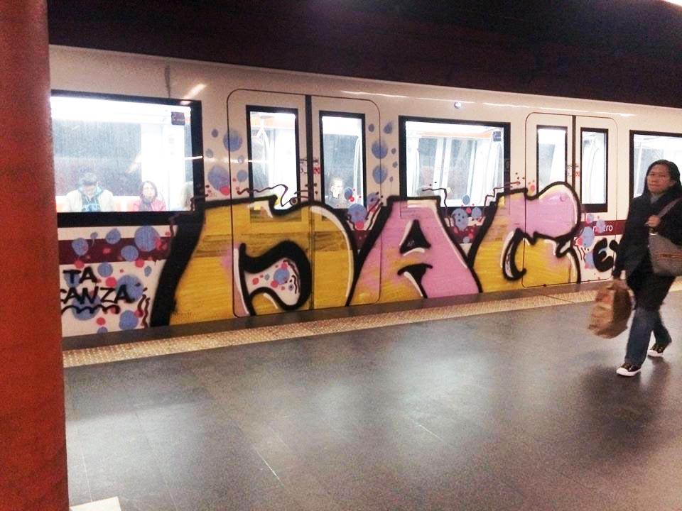 graffiti subway train rome italy subway