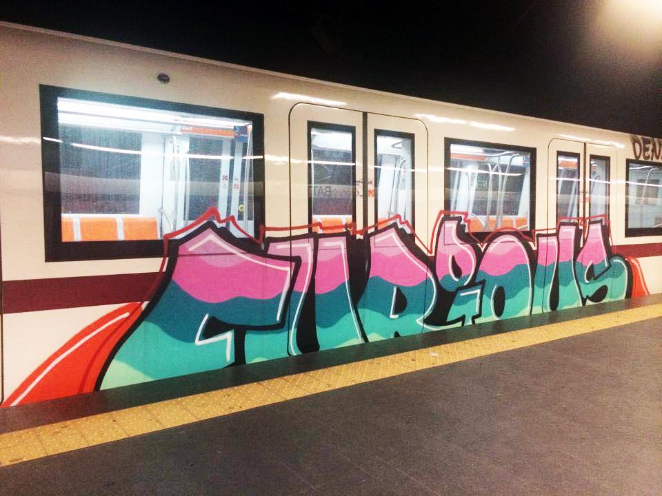 graffiti train subway rome italy furious