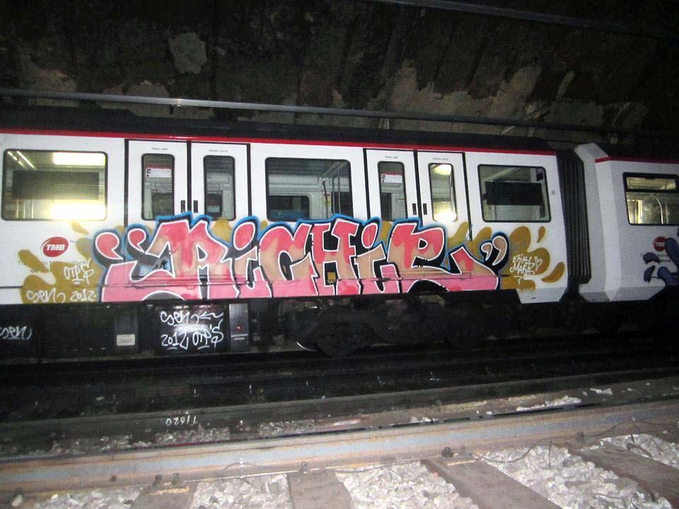 graffiti train subway barcelona spain tunnel