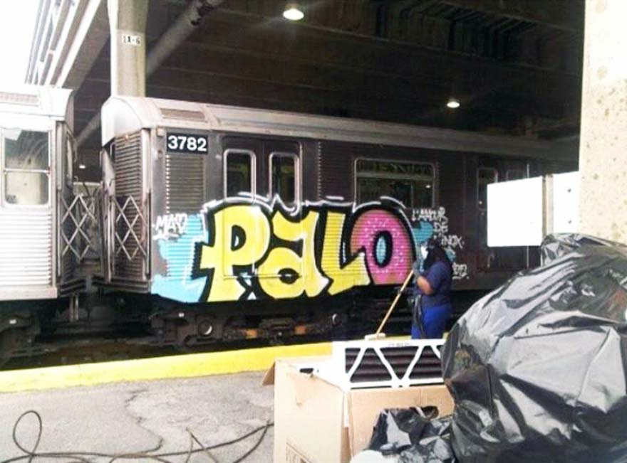 graffiti subway train palo nyc newyork