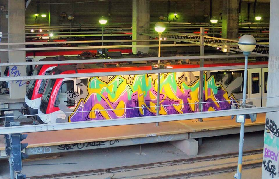 graffiti subway train sen barcelona spain 2015 t2b