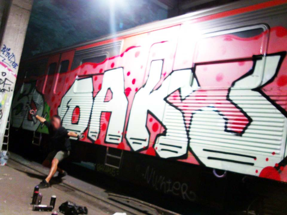 graffiti subway train athens greece oaks