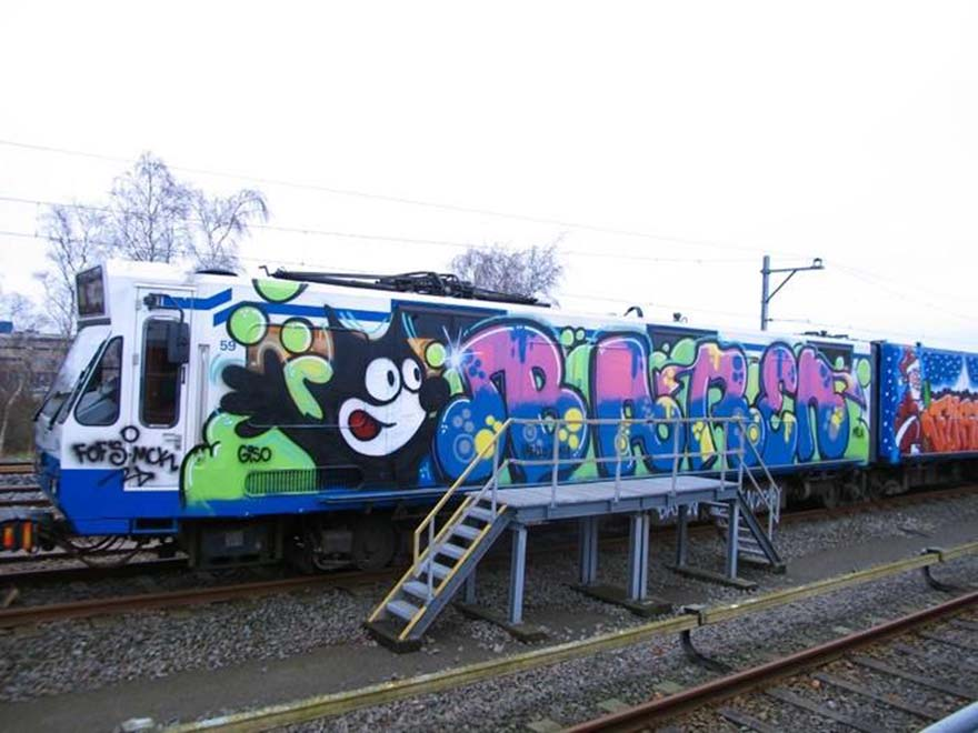 graffiti subway train amsterdam holland baren