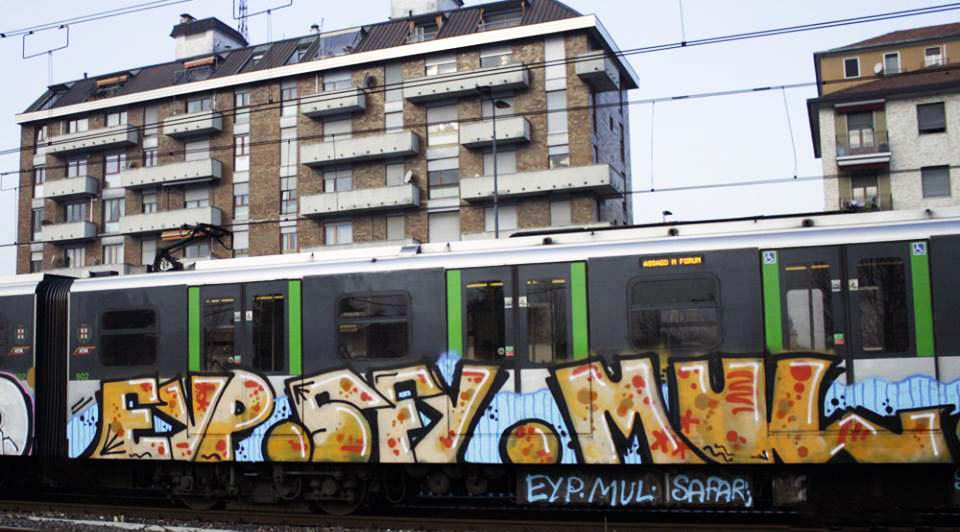 graffiti train subway milan italy eyp sfy mul 2015