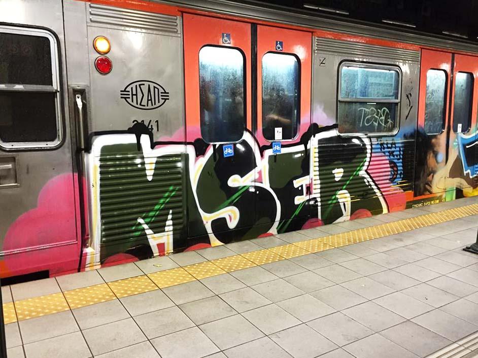 graffiti train subway athens greece mser