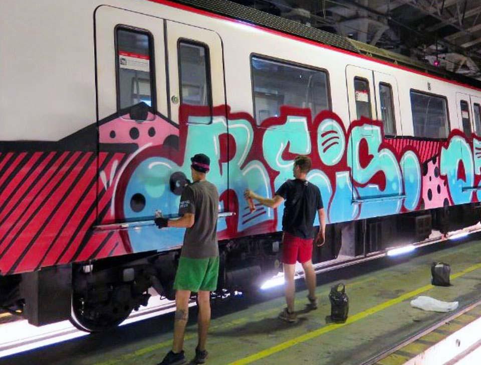 graffiti train subway barcelona spain