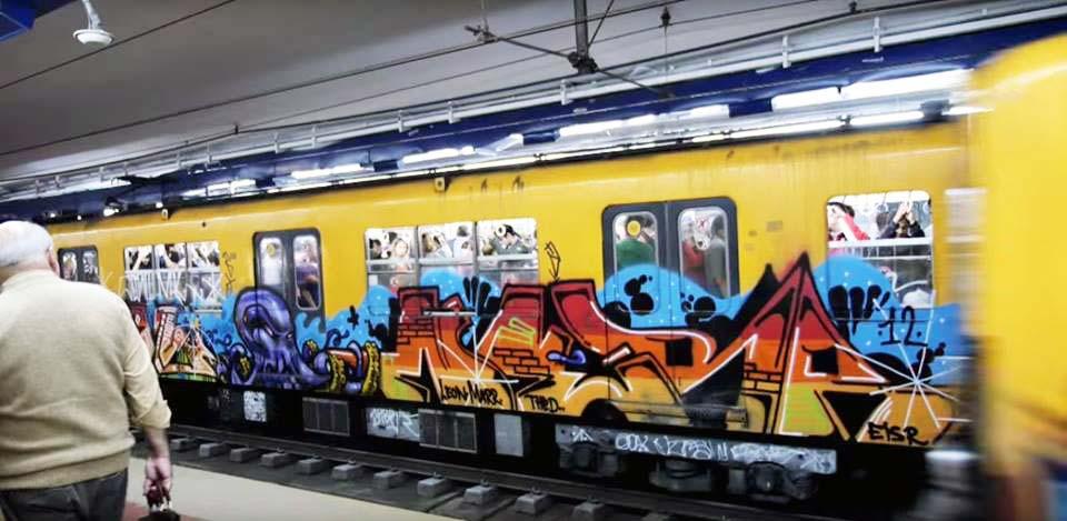 graffiti train subway buenos aires nerr argentina