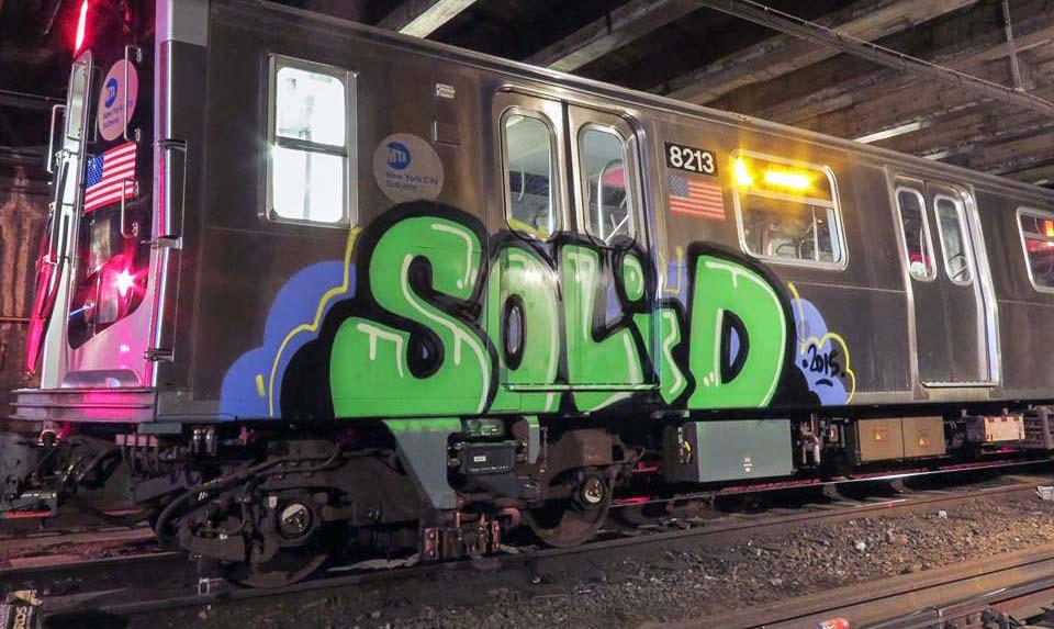 subway graffiti train nyc usa newyork solid