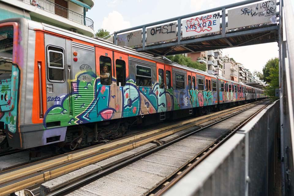 graffiti train subway athens greece