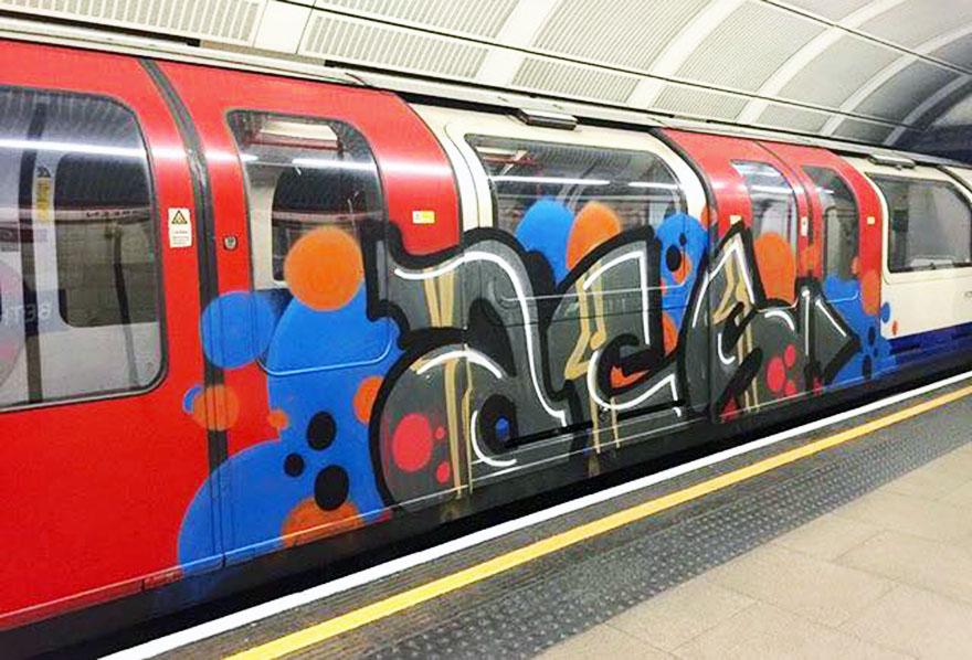 graffiti train subway london uk tube acs 2015 running