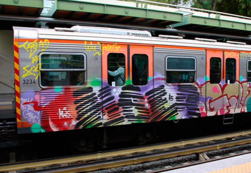 graffiti subway train athens greece mser