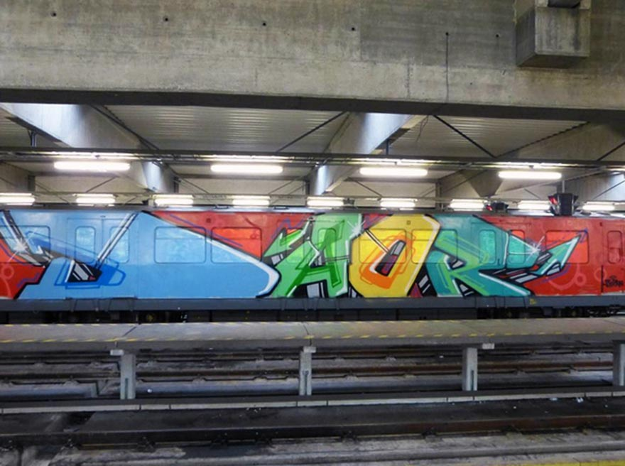 graffiti train subway vienna austria daor wholecar