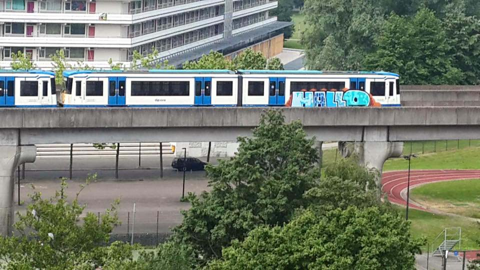 graffiti train subway amsterdam holland hallo