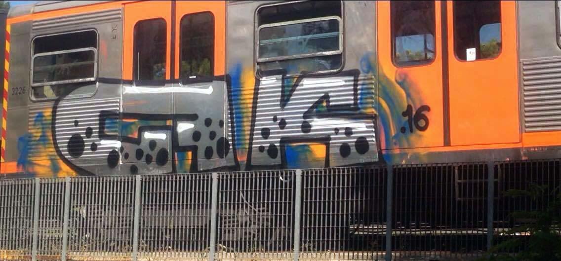 graffiti train subway athens greece cfk