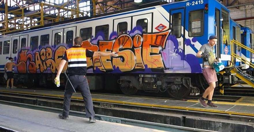 graffiti subway train madrid spain kairo resie